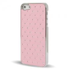 Чехол со стразами для iPhone 5S розовый