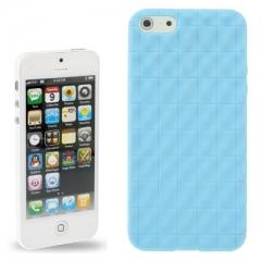 Чехол силиконовый для iPhone 5 матовый голубой
