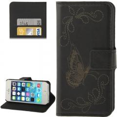 Чехол книжка для iPhone 5S Бабочка черный