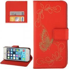 Чехол книжка для iPhone 5S Бабочка красный