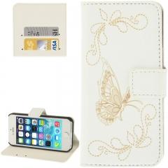 Чехол книжка для iPhone 5 С Бабочкой белый