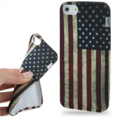 Чехол силиконовый для iPhone 5S Американский флаг