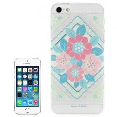 Чехол для iPhone 5 Голубые и розовые цветочки