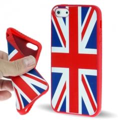Чехол силиконовый Британский флаг для iPhone 5 красный
