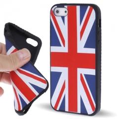 Чехол силиконовый Британский флаг для iPhone 5 черный