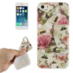 Чехол силиконовый Париж розы для iPhone 5