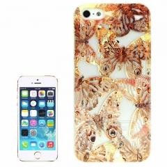 Чехол Бабочки для iPhone 5s золотой
