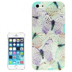 Чехол Бабочки для iPhone 5S голубой