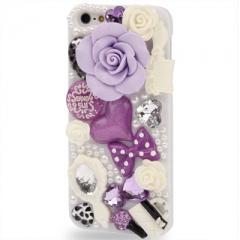 Чехол для iPhone 5 Розочки со стразами фиолетовый