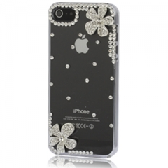 Чехол для iPhone 5 Цветочки со стразами