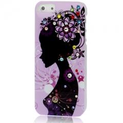 Чехол с Девушкой для iPhone 5S со стразами розовый