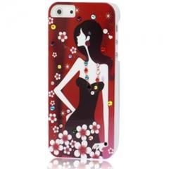 Чехол с Девушкой для iPhone 5S со стразами красный