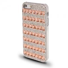 Чехол для iPhone 5 со стразами персиковый