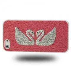 Чехол Сваровски для iPhone 5S розовый