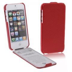 Кожаный чехол - книжка для iPhone 5S красный