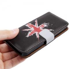 Чехол книжка Британский Флаг для iPhone 5 черный