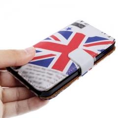 Чехол книжка Британский Флаг для iPhone 5 белый