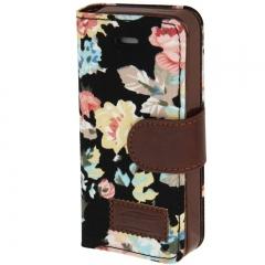 Чехол книжка Цветочки для iPhone 5S черный