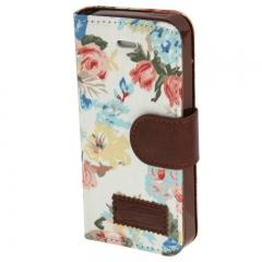 Чехол книжка Цветочки для iPhone 5S белый