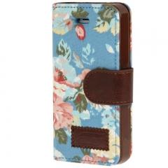Чехол книжка Цветочки для iPhone 5S синий