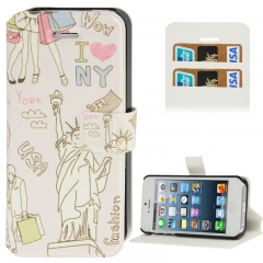Чехол книжка для iPhone 5S New York