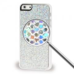 Чехол с блестками для iPhone 5S серебряный