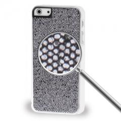 Чехол с блестками для iPhone 5S черный