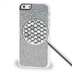 Чехол с блестками для iPhone 5S серый