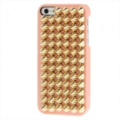 Чехол с золотыми шипами для iPhone 5S персиковый