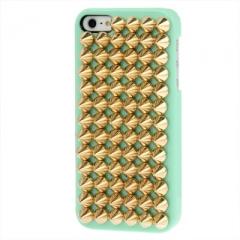 Чехол с золотыми шипами для iPhone 5s мятный
