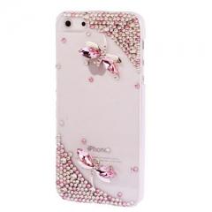 Чехол для iPhone 5S Стрекоза со стразами розовый