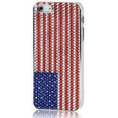 Чехол для iPhone 5 Американский флаг со стразами