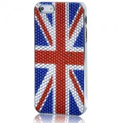 Чехол для iPhone 5S Британский флаг со стразами