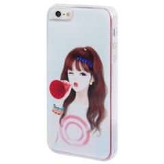 Чехол Девочка для iPhone 5S со стразами