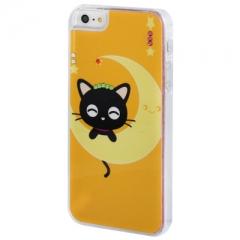 Чехол Котенок на луне для iPhone 5S со стразами