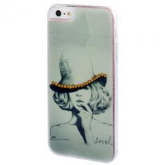 Чехол с Девушкой для iPhone 5S со стразами