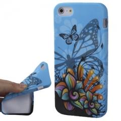 Чехол с Бабочками для iPhone 5S синий