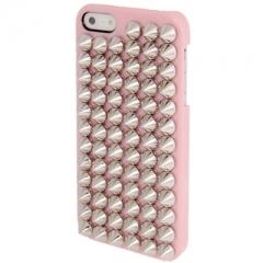 Чехол с серебряными шипами для iPhone 5 розовый