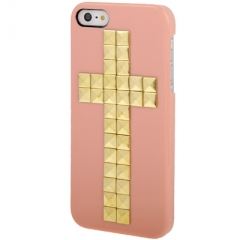 Чехол с клепками Крест для iPhone 5S персиковый
