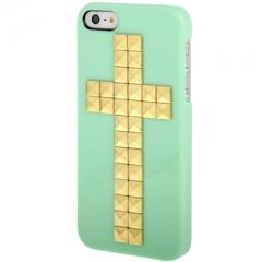 Чехол с клепками Крест для iPhone 5S салатовый