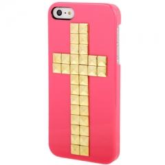 Чехол с клепками Крест для iPhone 5S малиновый