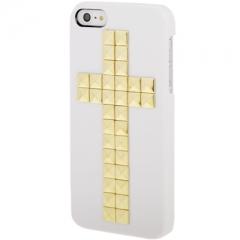 Чехол с клепками Крест для iPhone 5S белый