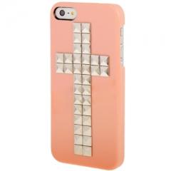 Чехол Крест с клепками для iPhone 5S персиковый