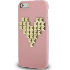 Чехол с клепками Сердце для iPhone 5 розовый