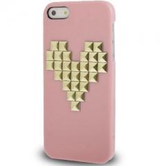 Чехол с клепками Сердце для iPhone 5S розовый