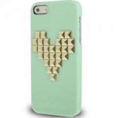 Чехол с клепками Сердце для iPhone 5S салатовый