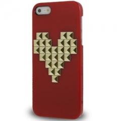 Чехол с клепками Сердце для iPhone 5S красный