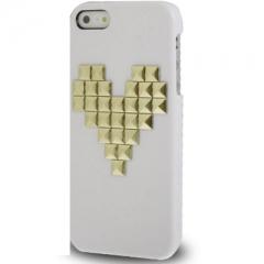 Чехол с клепками Сердце для iPhone 5S белый