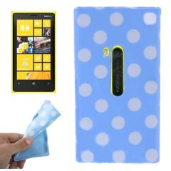 Чехол силиконовый в горошек для Nokia Lumia 920 голубой