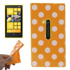 Чехол силиконовый в горошек для Nokia Lumia 920 оранжевый